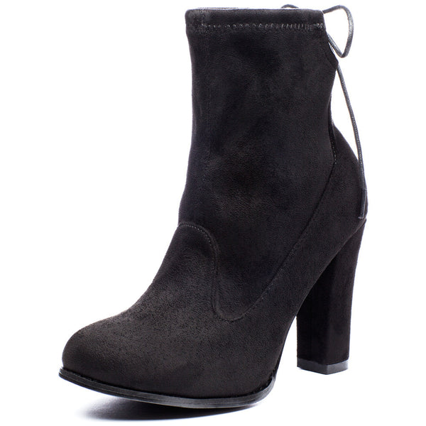 Tie-Dah Black Faux Suede Bootie - Citi Trends Shoes - Front
