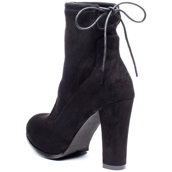 Tie-Dah Black Faux Suede Bootie - Citi Trends Shoes - Back