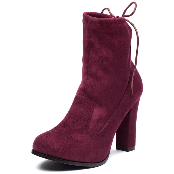 Tie-Dah Burgundy Faux Suede Bootie - Citi Trends Shoes - Front