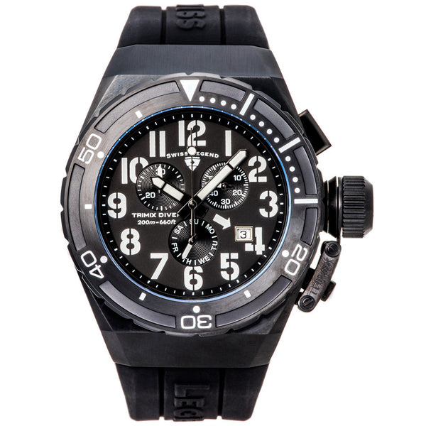 Swiss Legend Trimix Diver 2.0 Chrono Black Silicone Watch - Citi Trends Designer - Front