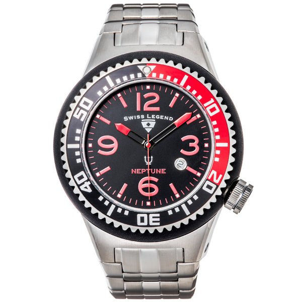 Swiss Legend Men's Neptune Force Silver Stainless Steel Watch - Citi Trends Designer - Front