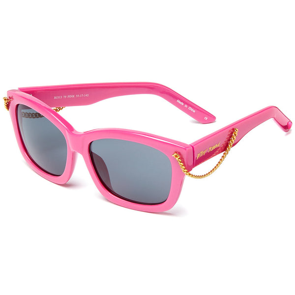 Betsey Johnson Women's Pink Square Sunglasses With Side Gold Chain Detail - Citi Trends Designer
