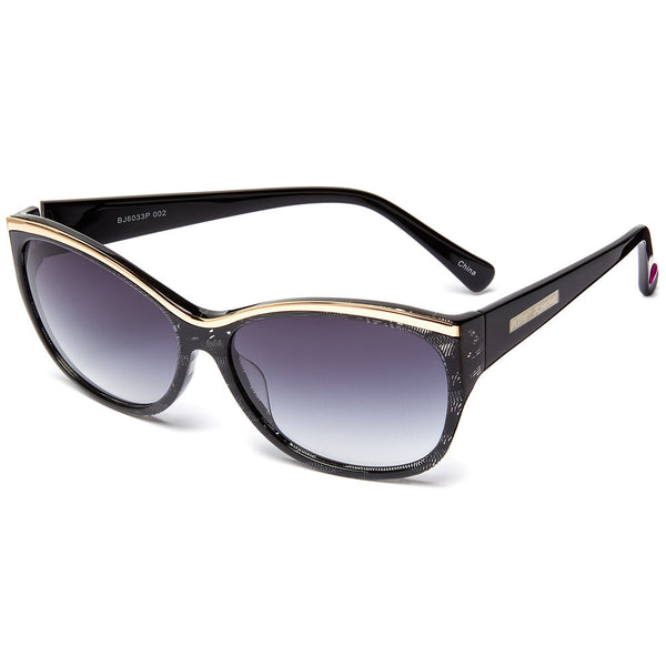 Betsey Johnson Women's Black & Gold Printed Square Sunglasses - Citi Trends Designer