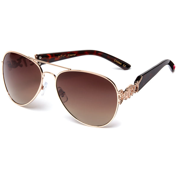 Betsey Johnson Women's Brown Tortoise & Gold Aviator Sunglasses - Citi Trends Designer