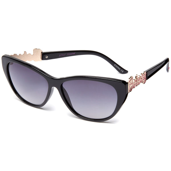Betsey Johnson Women's Black Cat-Eye Sunglasses With Pink Rhinestone Embellished Gold Signature Logo - Citi Trends Designer