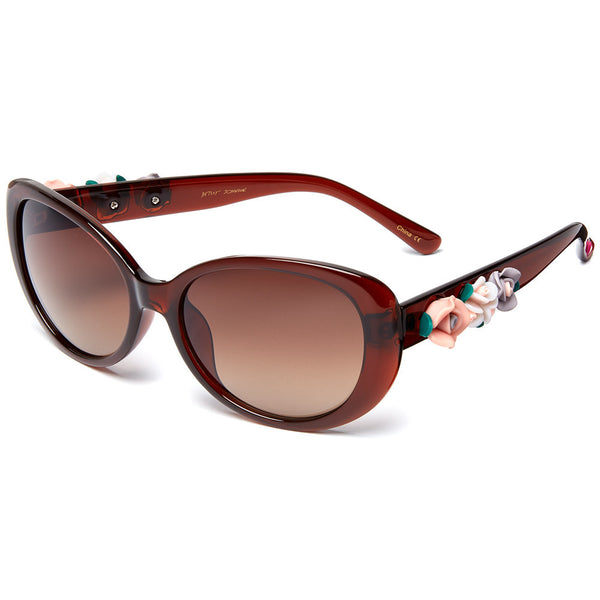 Betsey Johnson Women's Brown Cat-Eye Sunglasses With Side Flower Ornament - Citi Trends Designer