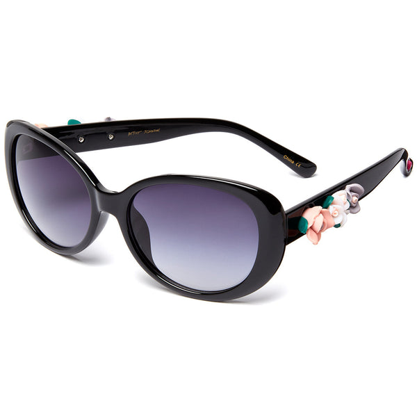 Betsey Johnson Women's Black Cat-Eye Sunglasses With Side Flower Ornament - Citi Trends Designer