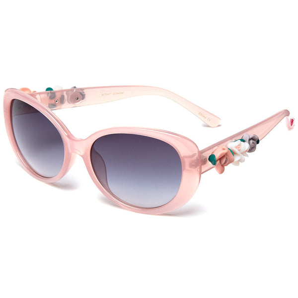 Betsey Johnson Women's Translucent Pink Cat-Eye Sunglasses With Side Flower Ornament - Citi Trends Designer