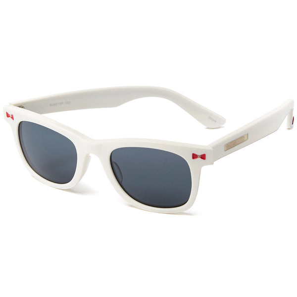 Betsey Johnson Women's White Wayfarer Sunglasses With Red Bow Detail - Citi Trends Designer