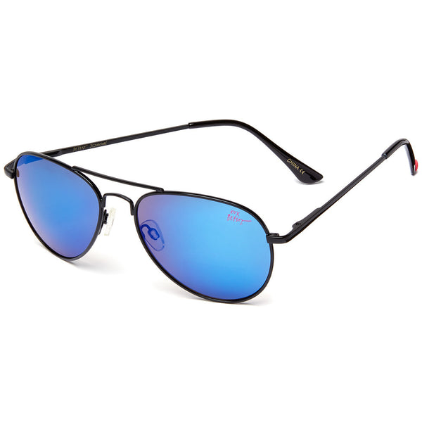 Betsey Johnson Women's Black Aviator Sunglasses With Blue Mirrored Lens - Citi Trends Designer