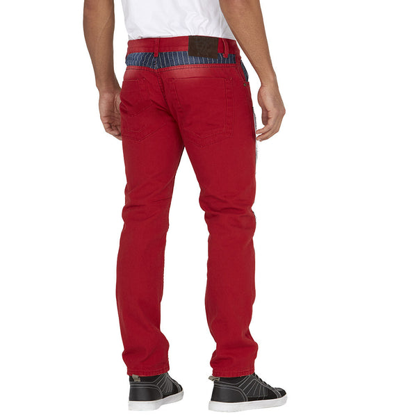 On The Fast Track Red Railroad Stripe Patchwork Jean - Citi Trends Mens - Back