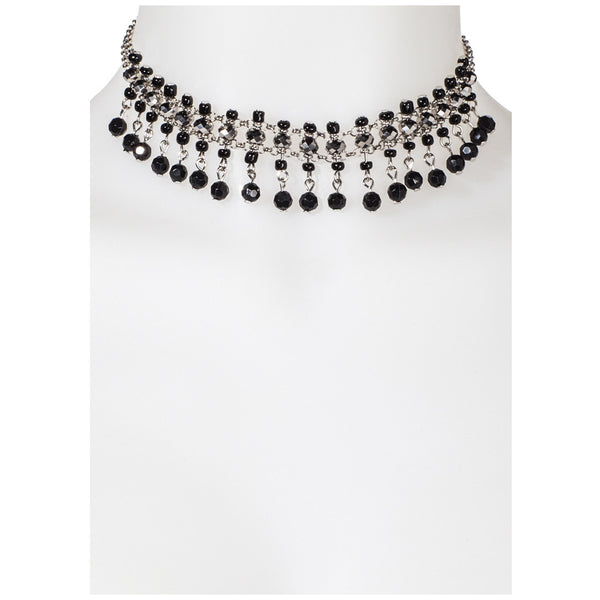 Deco Diva Silver Beaded Choker - Citi Trends Accessories - Front