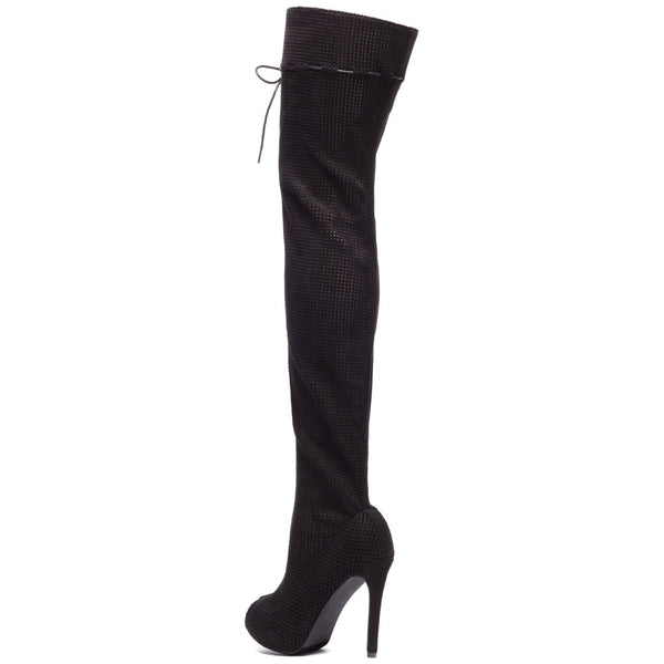 Perf Example Black Peep-Toe Over-The-Knee Boot - Citi Trends Shoes - Back