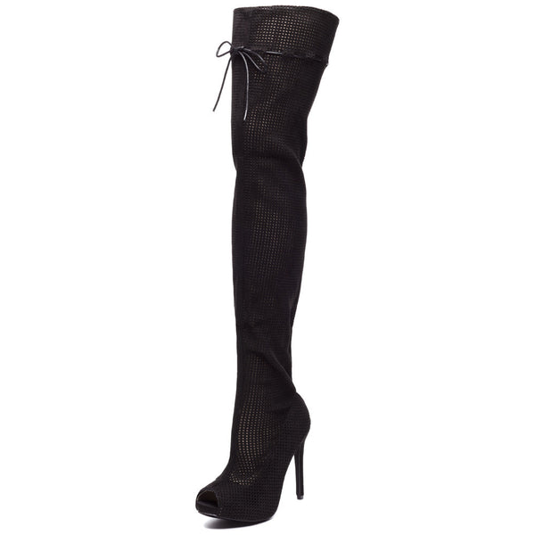 Perf Example Black Peep-Toe Over-The-Knee Boot - Citi Trends Shoes - Front