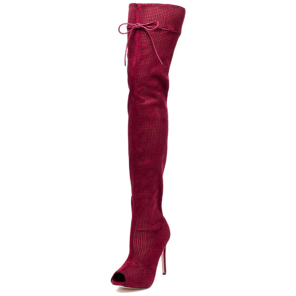 Perf Example Burgundy Peep-Toe Over-The-Knee Boot - Citi Trends Shoes - Front