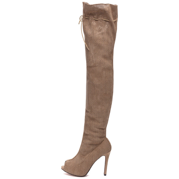 Perf Example Taupe Peep-Toe Over-The-Knee Boot - Citi Trends Shoes - Side