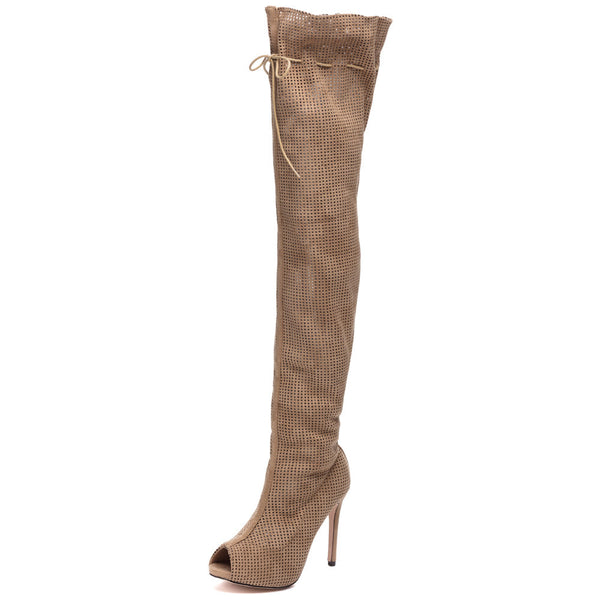 Perf Example Taupe Peep-Toe Over-The-Knee Boot - Citi Trends Shoes - Front