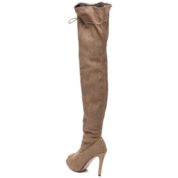 Perf Example Taupe Peep-Toe Over-The-Knee Boot - Citi Trends Shoes - Back