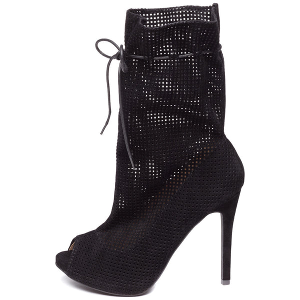 Perf Example Black Perforated Peep-Toe Bootie - Citi Trends Shoes - Side