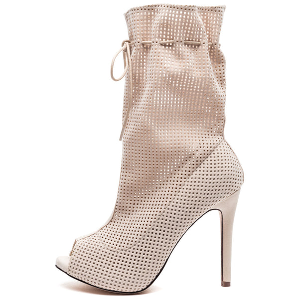 Perf Example Nude Perforated Peep-Toe Bootie - Citi Trends Shoes - Side