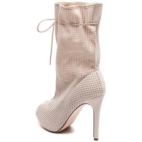 Perf Example Nude Perforated Peep-Toe Bootie - Citi Trends Shoes - Back