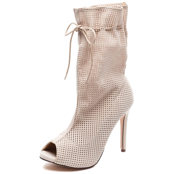 Perf Example Nude Perforated Peep-Toe Bootie - Citi Trends Shoes - Front