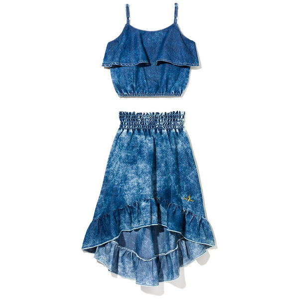 Chambray For The Day Girls 2-Piece Baby Phat Denim Skirt Set - Citi Trends Girls - Front