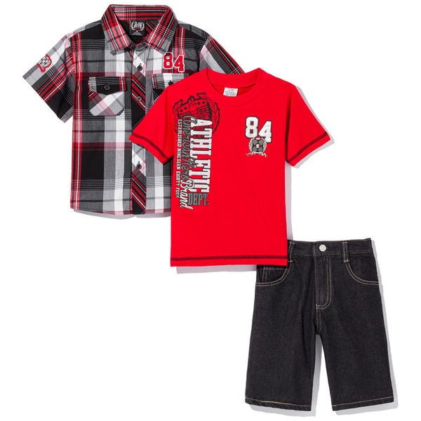 Plaid At Play Boys Red 3-Piece Denim Short Set - Citi Trends Boys - Front