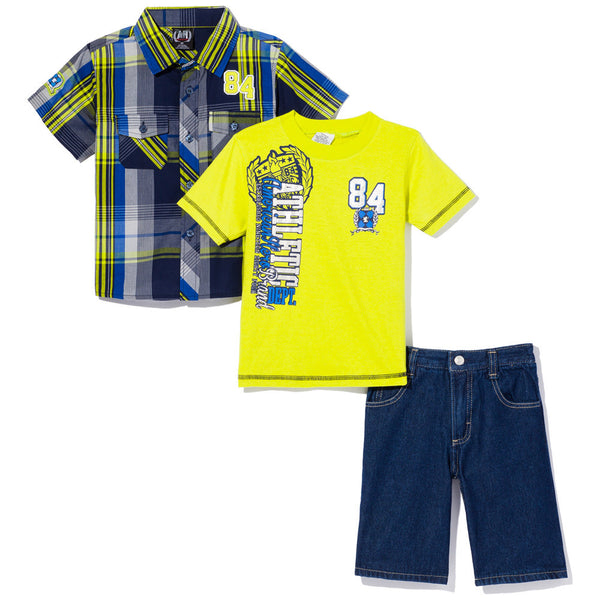 Plaid At Play Boys Lime Green 3-Piece Denim Short Set - Citi Trends Boys - Front