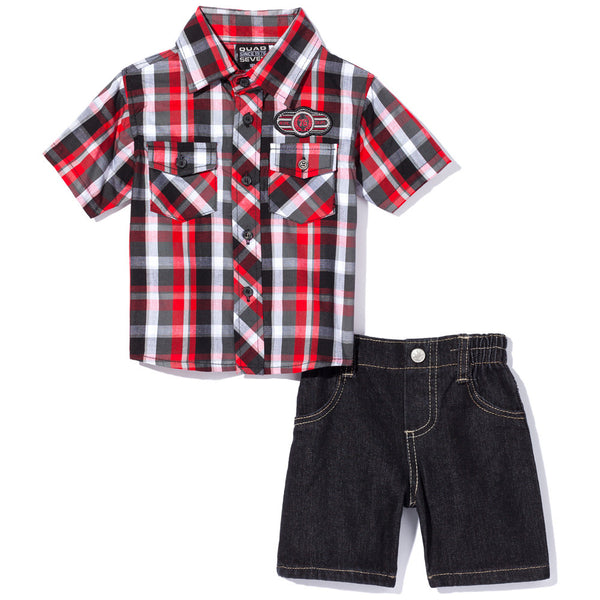 Check, Yes Boys Red/Black 2-Piece Denim Short Set - Citi Trends Boys - Front