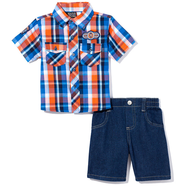 Check, Yes Boys Blue/Orange 2-Piece Denim Short Set - Citi Trends Boys - Front