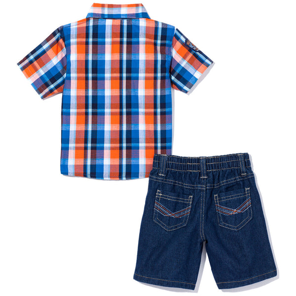Check, Yes Boys Blue/Orange 2-Piece Denim Short Set - Citi Trends Boys - Back