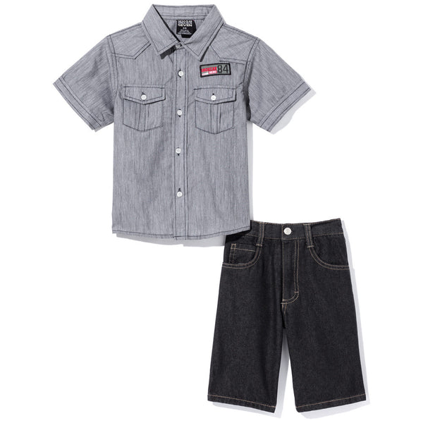 Chambray, You Don't Say Boys Black 2-Piece Denim Short Set - Citi Trends Boys - Front