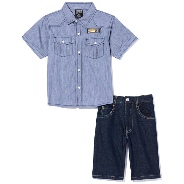 Chambray, You Don't Say Boys Blue 2-Piece Denim Short Set - Citi Trends Boys - Front
