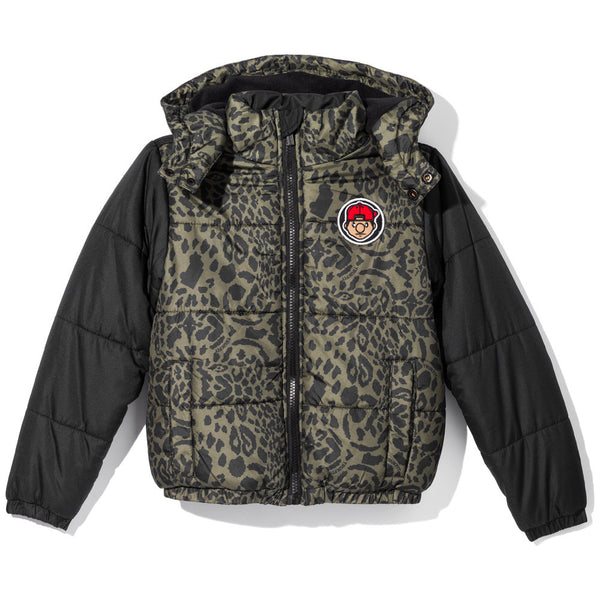 King Of The Jungle Boys Olive Animal Print Puffer Jacket - Citi Trends Boys - Front