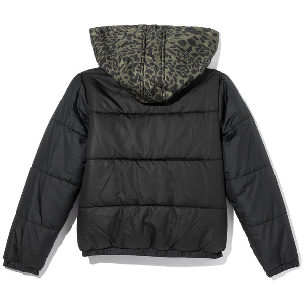 King Of The Jungle Boys Olive Animal Print Puffer Jacket - Citi Trends Boys - Back