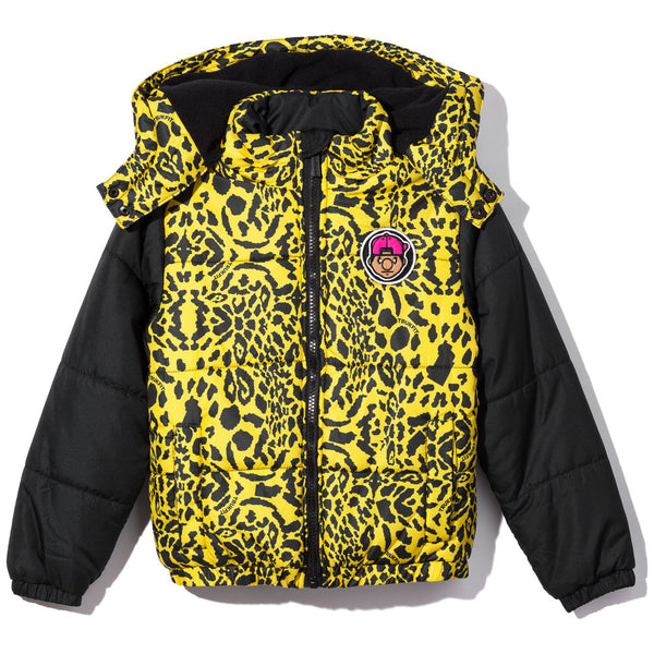 King Of The Jungle Boys Yellow Animal Print Puffer Jacket - Citi Trends Boys - Front