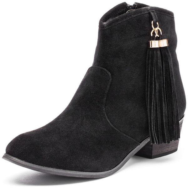Two To Tassel Black Faux Suede Bootie - Citi Trends Shoes - Front
