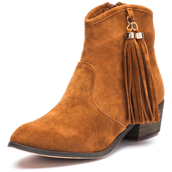 Two To Tassel Rust Faux Suede Bootie - Citi Trends Shoes - Front