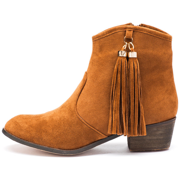 Two To Tassel Rust Faux Suede Bootie - Citi Trends Shoes - Side