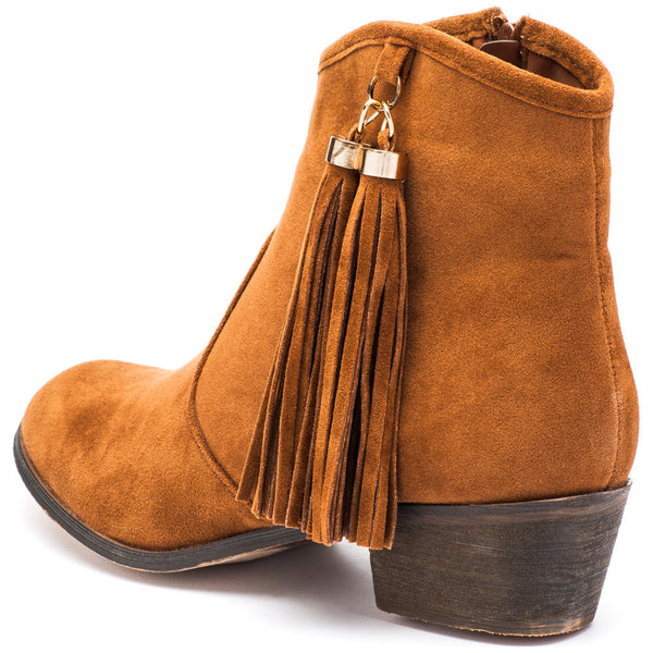 Two To Tassel Rust Faux Suede Bootie - Citi Trends Shoes - Back