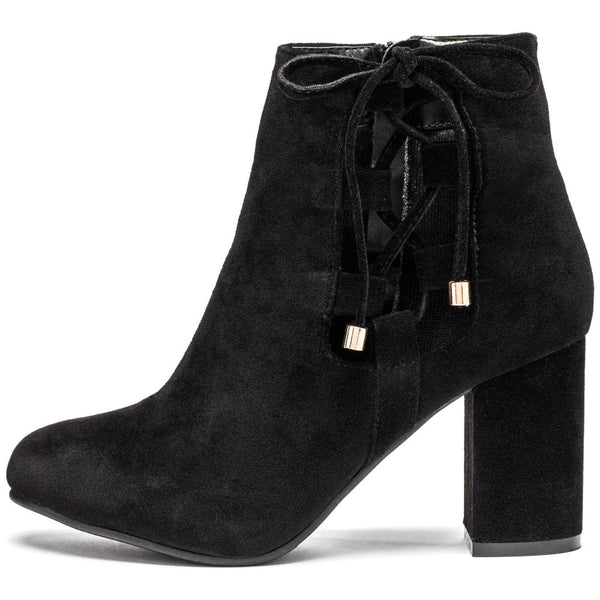 Best In Bow Black Faux Suede Bootie - Citi Trends Shoes - Side