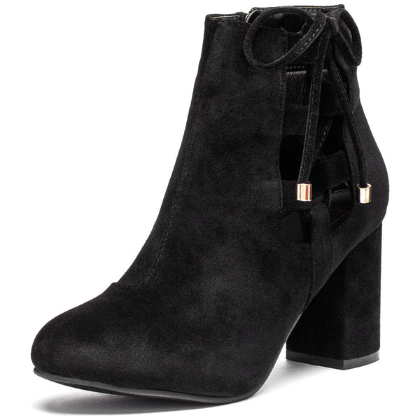 Best In Bow Black Faux Suede Bootie - Citi Trends Shoes - Front