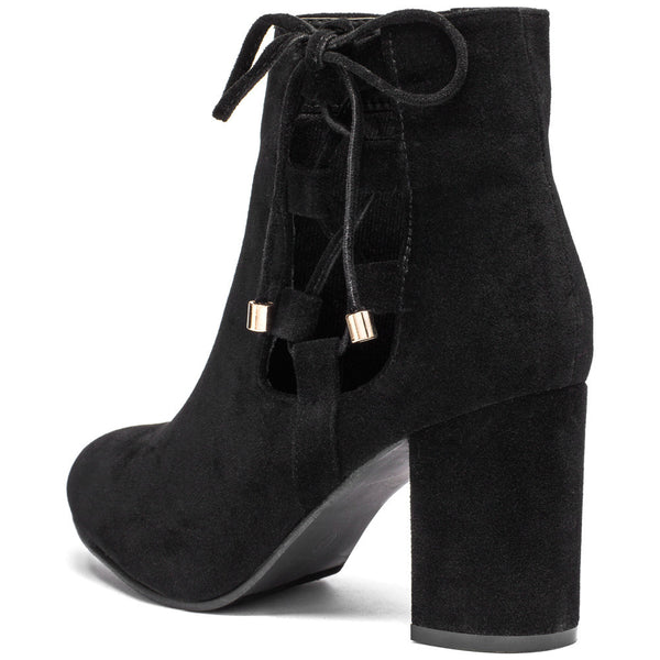 Best In Bow Black Faux Suede Bootie - Citi Trends Shoes - Back