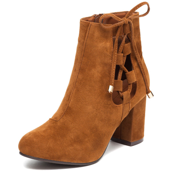 Best In Bow Rust Faux Suede Bootie - Citi Trends Shoes - Front