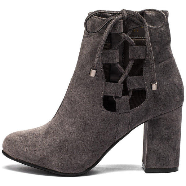 Best In Bow Grey Faux Suede Bootie - Citi Trends Shoes - Side