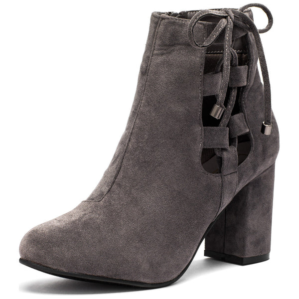 Best In Bow Grey Faux Suede Bootie - Citi Trends Shoes - Front