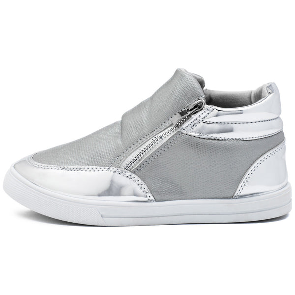 Metallic Mode Girls Silver High-Top Sneaker - Citi Trends Girls - Side