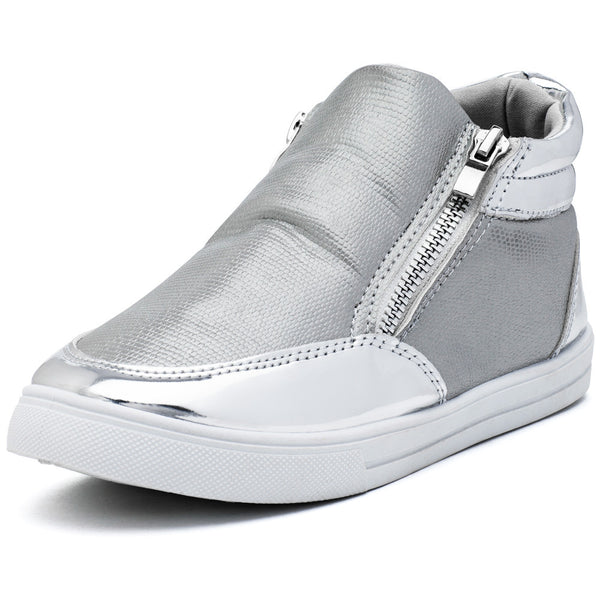 Metallic Mode Girls Silver High-Top Sneaker - Citi Trends Girls - Front