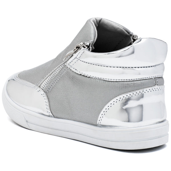 Metallic Mode Girls Silver High-Top Sneaker - Citi Trends Girls - Back